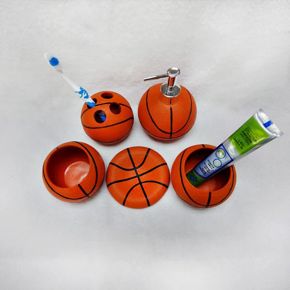 Creative Basketball Resin 5 Pieces Bathroom Accessory Set, Creative Soap Dish Liquid Soap Dispenser Toothbrush Holder Tumbler by ACSeven (Image #5)