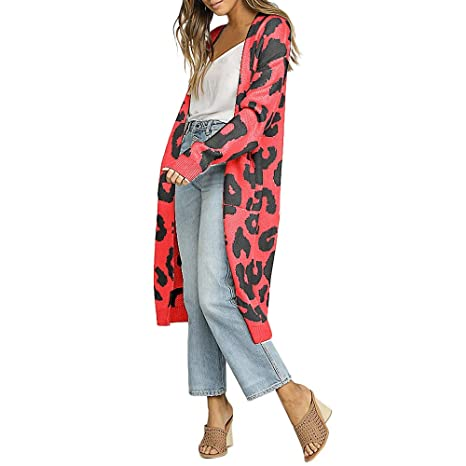 Amazon.com: Fitfulvan Fashion Women Leopard Print Cardigan T-Shirt Sweater Coat: Clothing