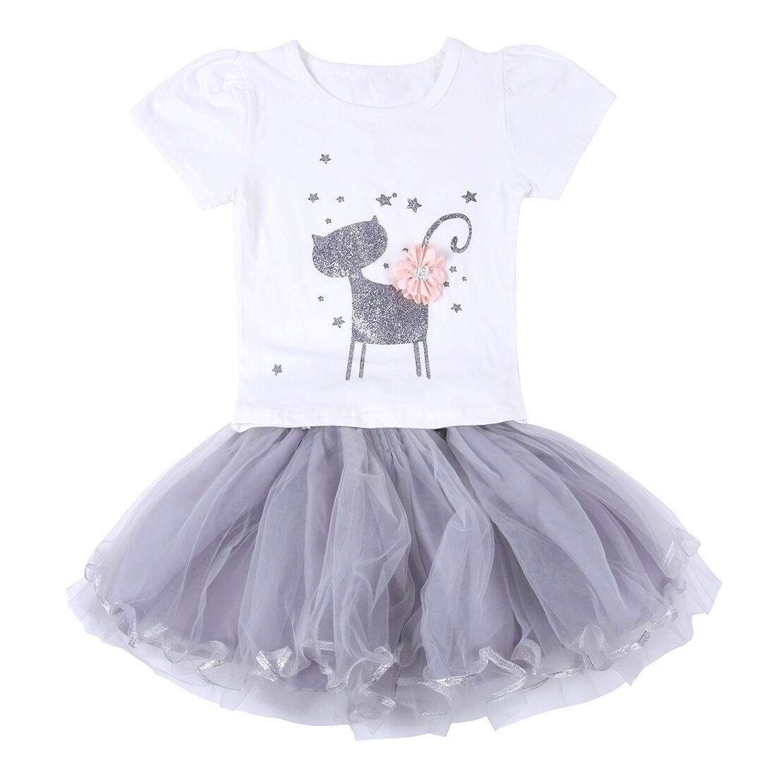 Neeseelily Baby Girls Clothes 2pc Cute T-Shirt+ Tulle Tutu Skirt Cartoon Outfit Set O3-KJV1-4XCR
