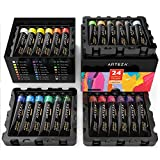 Arteza Acrylic Paint Set, 24 Colors/Tubes (22 ml/0.74 oz.) with Storage Box, Rich, Pigments, Non Fading, Non Toxic for The Professional Artist, Hobby Painters & Kids