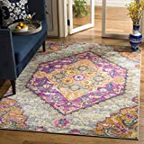 Safavieh Madison Collection MAD119G Light Grey and Fuchsia Bohemian Chic Medallion Area Rug (3′ x 5′) Review