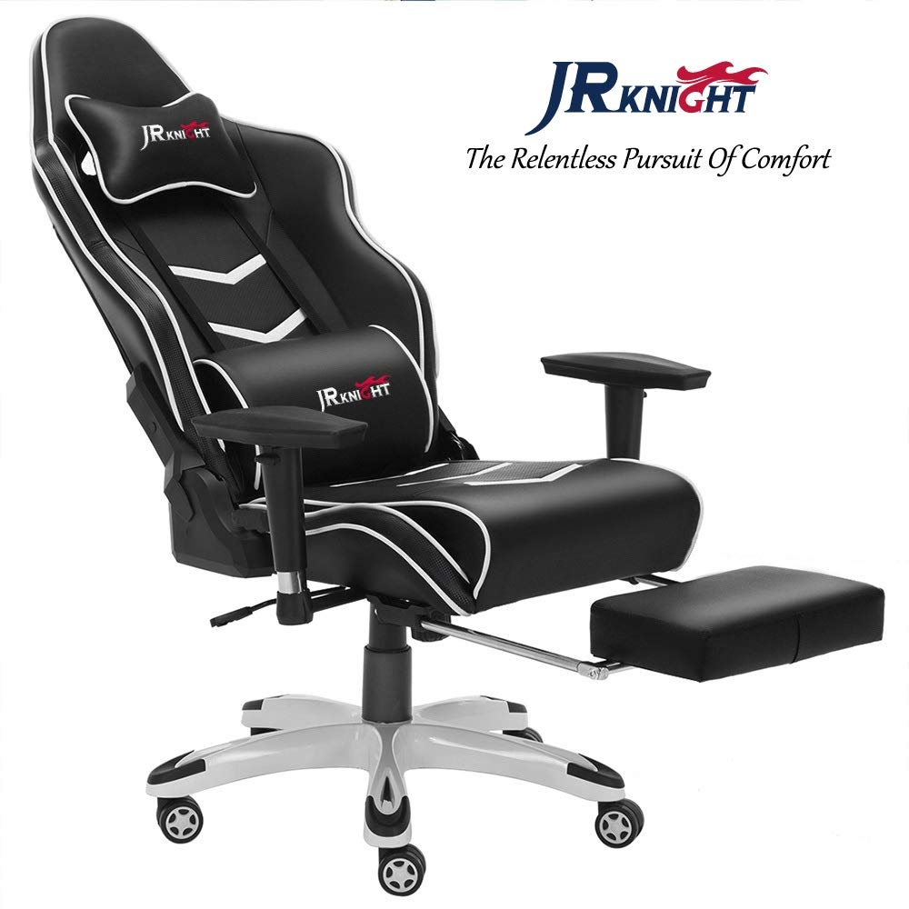 Jr Knight Gaming Chair Pro Ergonomical Luxury Home Office Racing Chair With Lumbar Pillow And Foot Rest Stool Gamer Design Leather Chair