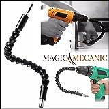 ✮ MagicMecanic ✮ Arbre Flexible Perceuse - Visseuse | Bras aimanté rallonge à cardan 29,5 cm (embout mandrin renvoi d'angle à 90° et plus)