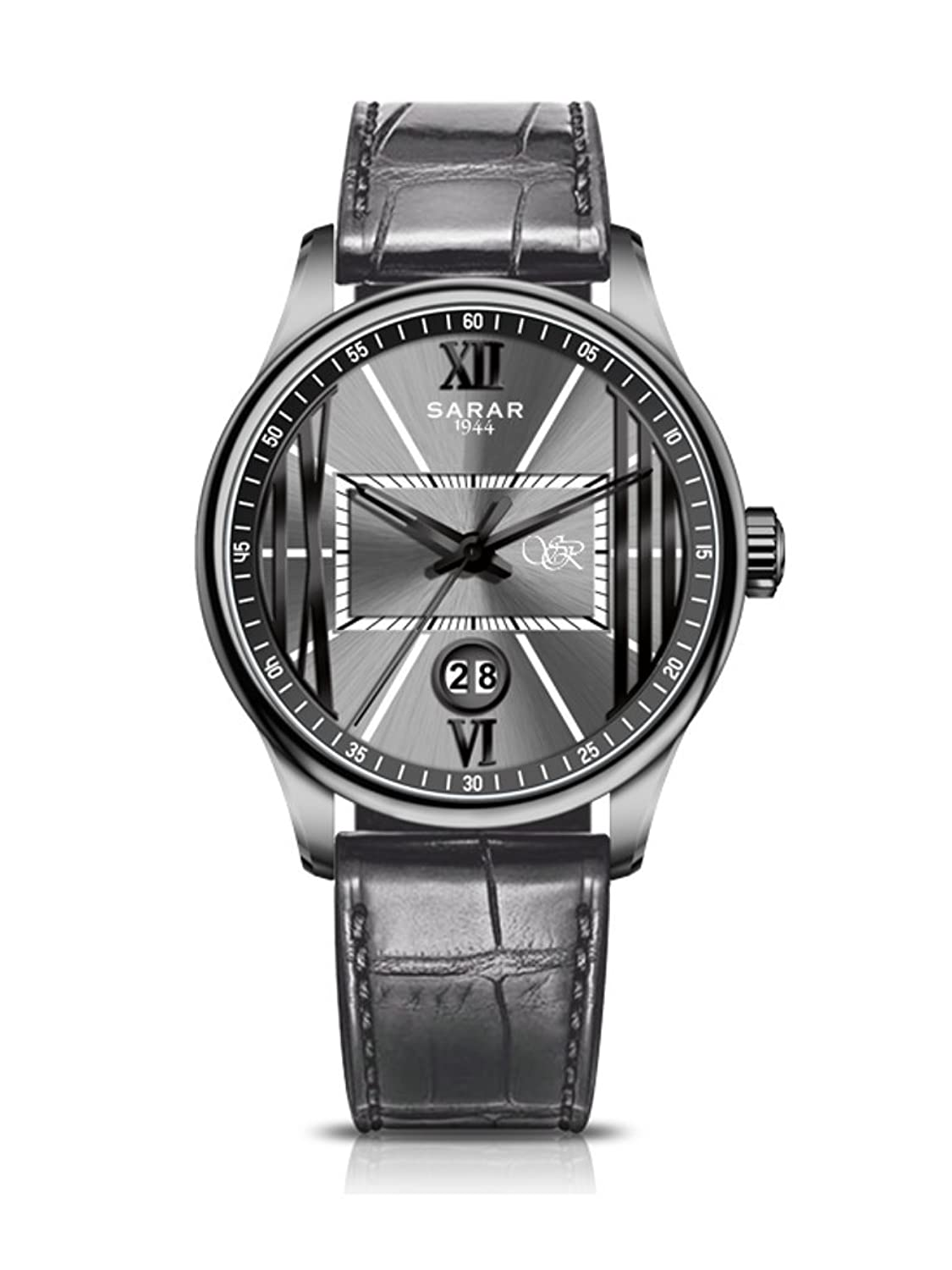 SARAR-TIME Roman Black-Grey SR-3143 Echtleder