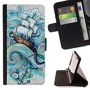 BullDog Case - FOR/Sony Xperia Z1 Compact D5503 / - / SHIP SEA ANCHOR SAILS KRAKEN BOAT STORM /- Monedero de cuero de la PU Llevar cubierta de la caja con el ID Credit Card Slots Flip funda de cuer