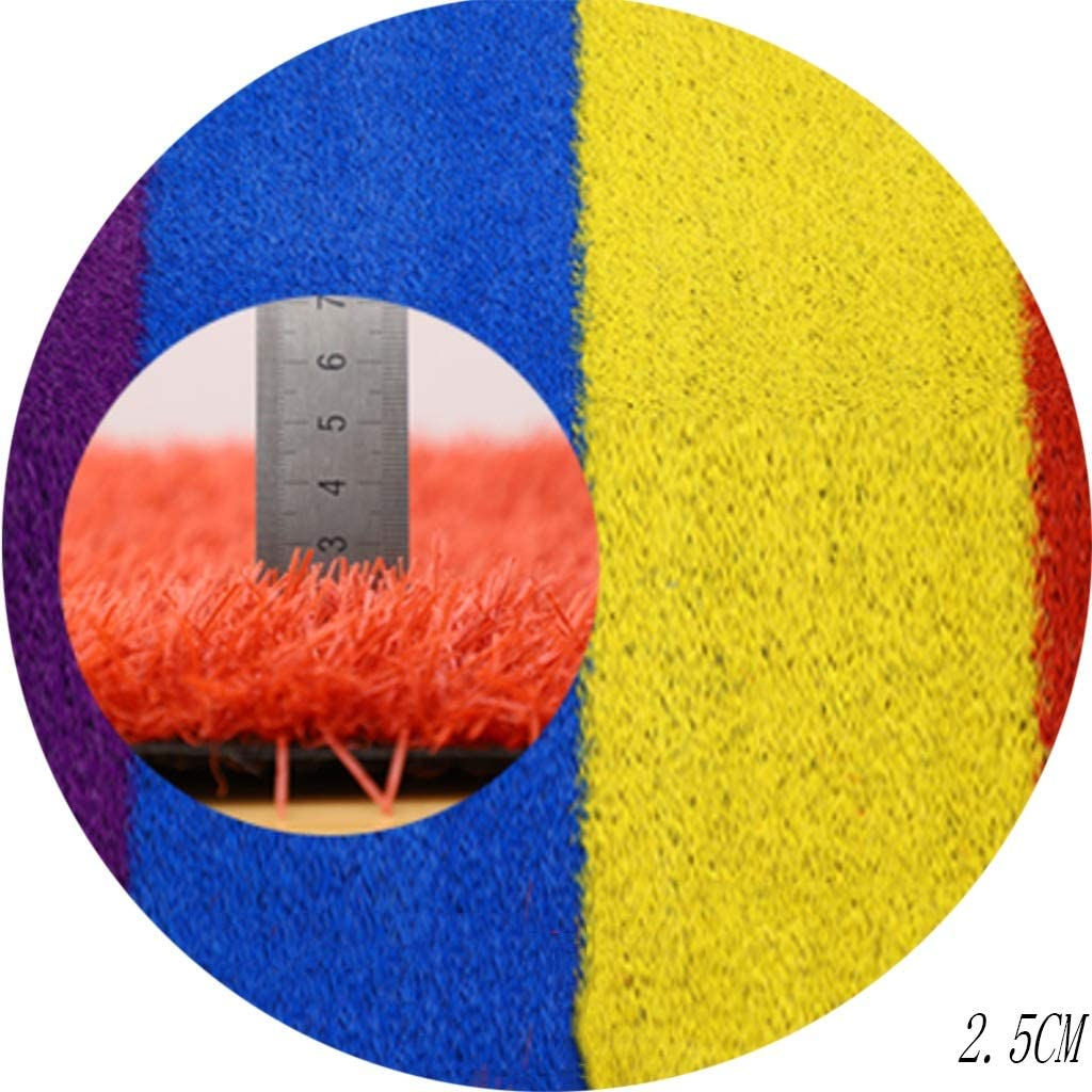 YNFNGXU 柔らかく、耐久の人工的な芝生25mmの山の高い総合的な芝生4色の虹の滑走路のマットの学校/幼稚園/運動場の装飾 (Size : 2x9m)