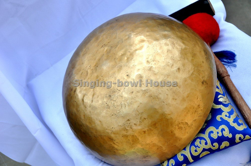 10'' Hand Hammered Tibetan Singing Bowl for Master Chakra Healing, Yoga, Meditation, Sound Bath & Mindfulness ~ Great vibration for Body Therapy~ Included Mallet, Silk Cushion & Drumstick ~Perfect Gift
