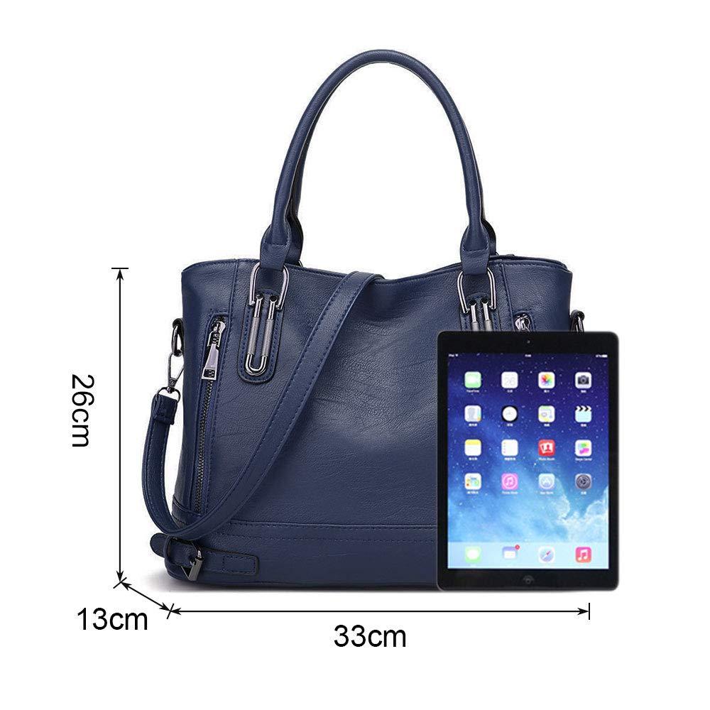 Top Handle Leather Handbags for Women Ladies Tote Crossbody Shoulder Bags Multi Pockets Medium Size Designer Clutch Purse for Girls