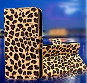 Wallet Leopard Skin Flip PU Leather Pouch Stand Case Cover For HTC One SV T528t HTC One SV LTE