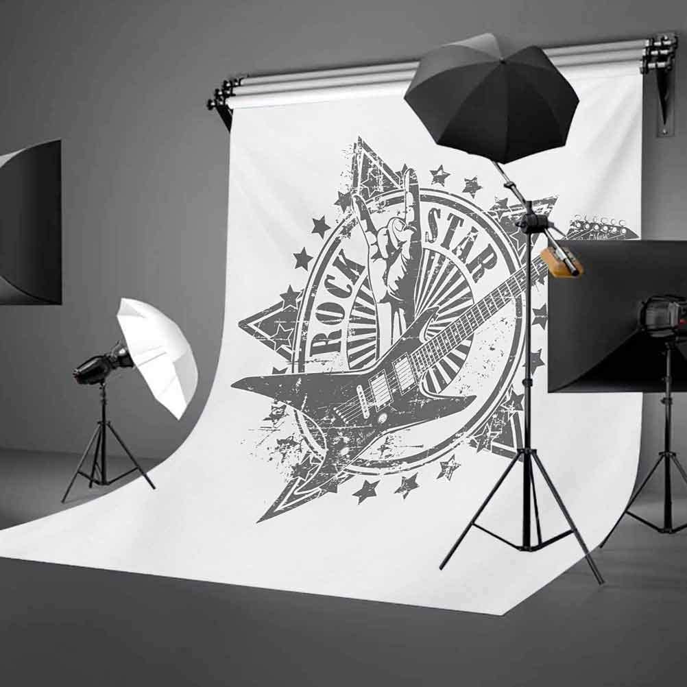 Guitar 10x12 FT Backdrop Photographers,Stars with Rock Sign Monochrome Musical Instrument Design Rockstar Life Singing Background for Child Baby Shower Photo Vinyl Studio Prop Photobooth Photoshoot