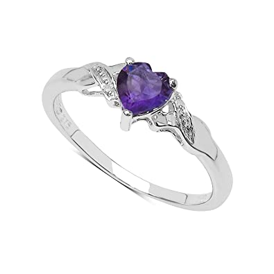 9ct White Gold Heart Shaped Amethyst Diamond Set Shoulders Engagement Ring, Anniversary Gift, Ring Size H,I,J,K,L,M,N,O,P,Q,R,S,T