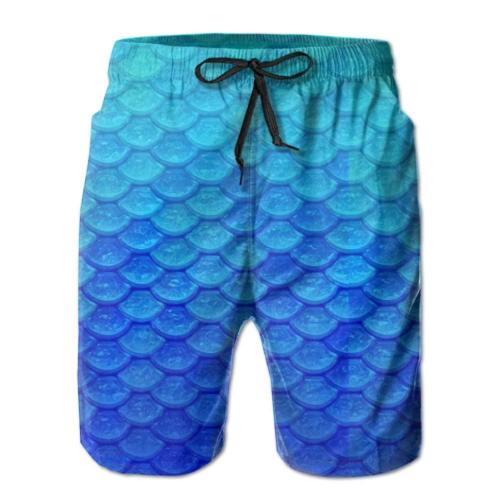 Mens Mermaid Skin Pattern Swim Trunks Quick-Dry Summer Board Shorts