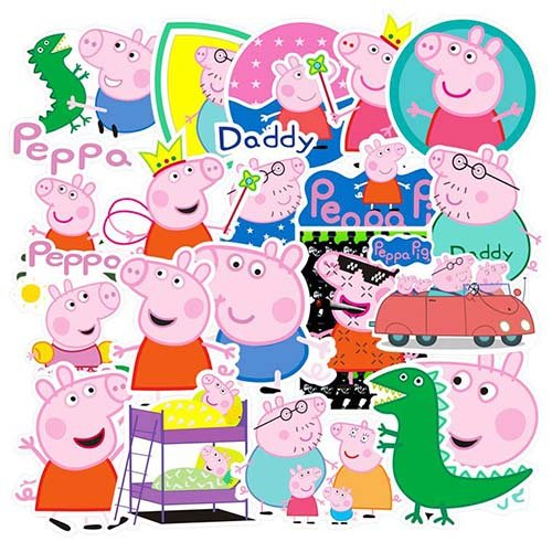 Peppa The Pig 38 Pcs Sticker Cute Decals Vinyls for Laptop, Luggage Notebook Cute]()
