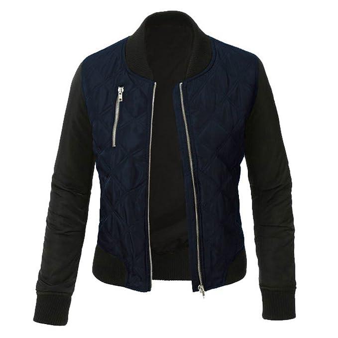 Minetom Mujer Otoño Invierno Casual Costura Cremallera Jackets Chaquetas Deportiva Cuero Moto Cazadoras Biker Abrigos Outwear