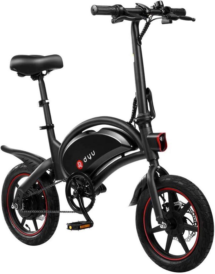 DYU D3F Bicicleta eléctrica Plegable, Bicicleta de aleación de Aluminio de 240 W, batería de Iones de Litio extraíble de 36 V, 6 Ah / 10 Ah con 3 Modos de conducción