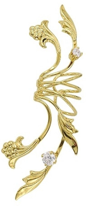 Ear Charms Non-Pierced Fleur de Lei Full Ear Spray Ear Cuff Gold on Silver LEFT Earring Cuff