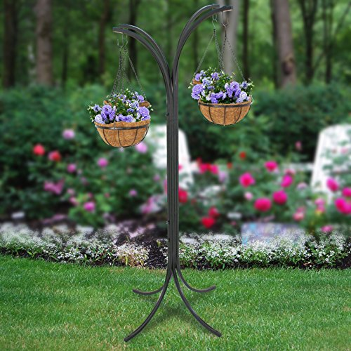 ZENY 4 Basket Arm Tree Hanging Patio Stand Rack, Space-Saving Plant Planter, Outdoor Patio Decor Hanging Basket Tree