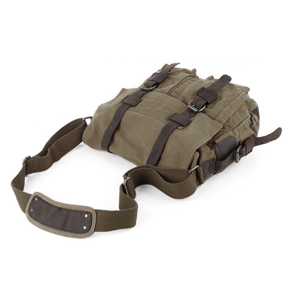e8a8a8dc82 Uoften Sac Toile pour Homme Sac d'école Sac Militaire sac Messager (Café)  Agrandir l'image