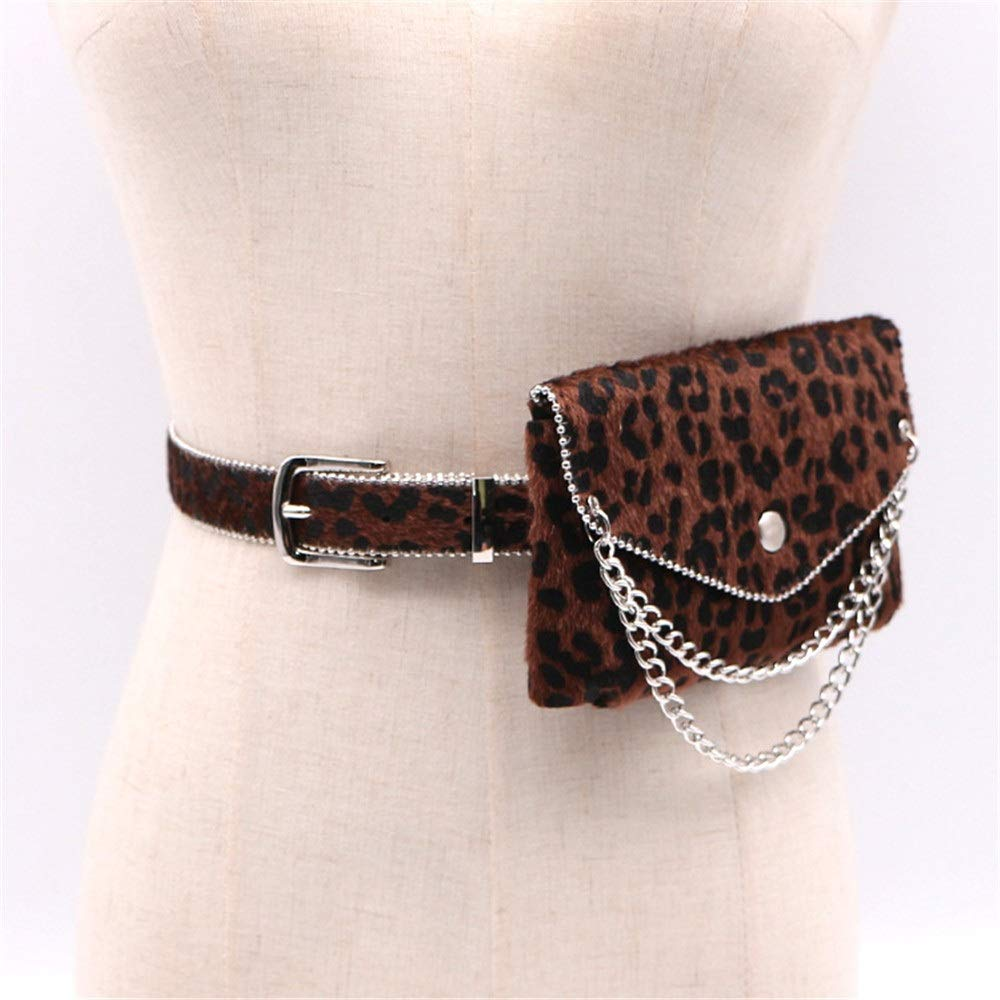 Womens Waist Bag Women Small Belt Bags Leopard Suede Leather Waist Bag Metal Chain Fanny Pack Adjustable Removable Belt with Waist Pouch Travel Bumbag Cell Phone Money Pouch Leather Waist Packs