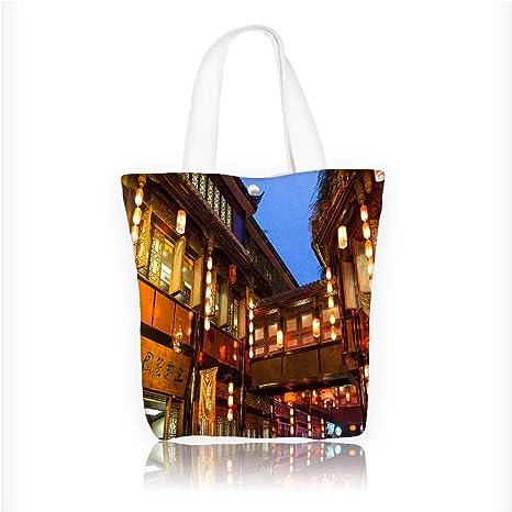 4c036caaa455 Amazon.com: Canvas Beach Bags Night scene of Chengdu alley scenic ...