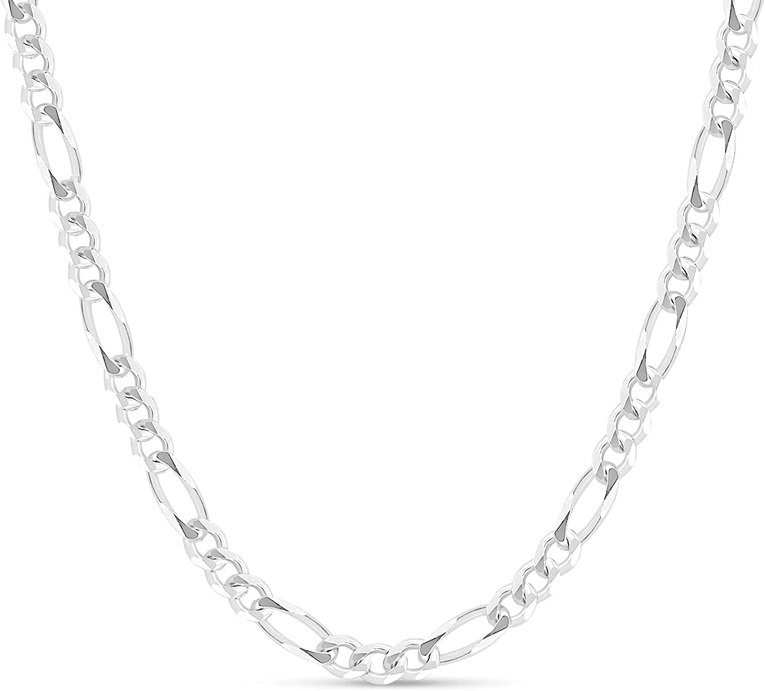 KEZEF Mens Reservation Sterling Silver 925 Italian Figaro Chain Link Necklac 5 ☆ very popular