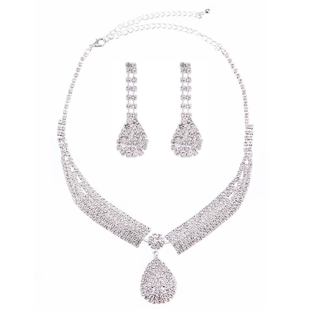 FANCY LOVE Crystal Rhinestone Bridal Necklace Earrings Jewelry Sets by FANCY LOVE JEWELRY (Image #1)