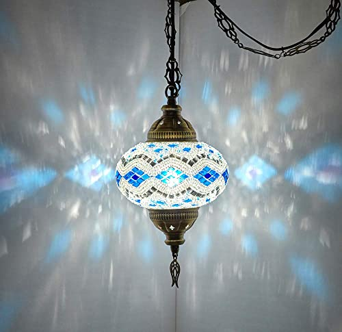 8 Colors DEMMEX Turkish Moroccan Mosaic Swag Plug in Pendant Ceiling Hanging Light with 15feet Cord Decorated Chain North American Plug Blue-White – 6 Diameter