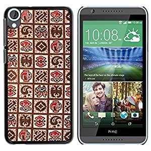 MOBMART Carcasa Funda Case Cover Armor Shell PARA HTC Desire 820 - Different Drawings On Brown Canvas Design