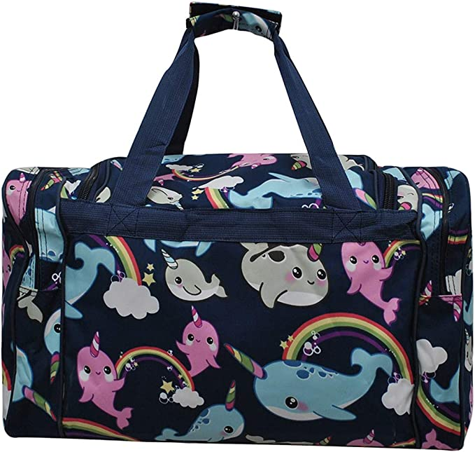 WIHVE Sports Gym Bag with Shoes Compartment Tropical Flower Chevron Travel Duffel Bag