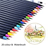 Pawaca Watercolor Brush Pens Set, 20 Colors Soft Flexible Tip Brush Markers with 1pc Water Brush for Adults and Kids Coloring Books, Doodling, Drawing, Calligraphy, Writing and More