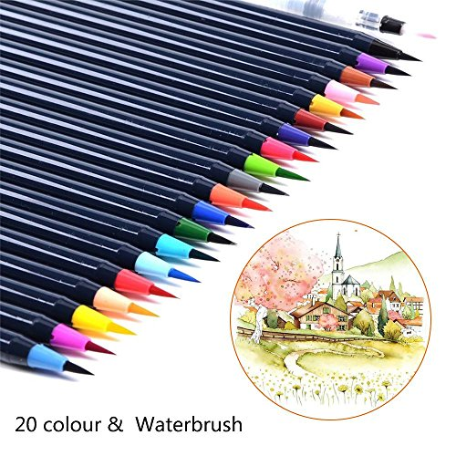 Pawaca Watercolor Brush Pens Set, 20 Colors Soft Flexible Tip Brush Markers with 1pc Water Brush for Adults and Kids Coloring Books, Doodling, Drawing, Calligraphy, Writing and More by Pawaca