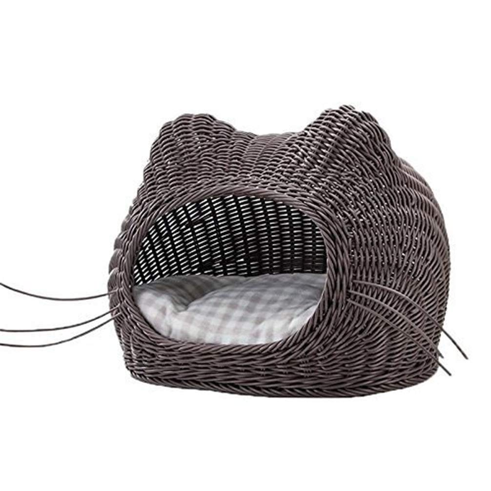 Chunchun Nordic Deluxe Rattan Cat Litter Scratch Proof Brown (Gift Cotton Mat and Cool Mat) (Size : 42x30cm) by Chunchun