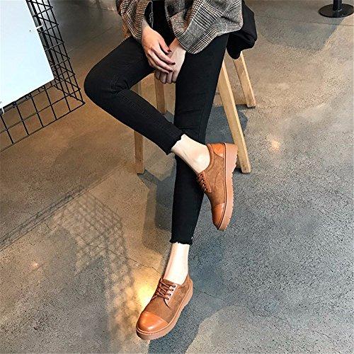 Viento Retro Único Brown Calzado Casual YUCH Plana Zapato Frenillo Mujer La College wptIqCx0