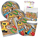 Handyman Tools Theme Party Supplies Pack (Serves-16) Plates Napkins Cups and Tablecloth - Tool Party Supply Tableware Set Kit include Birthday Candles