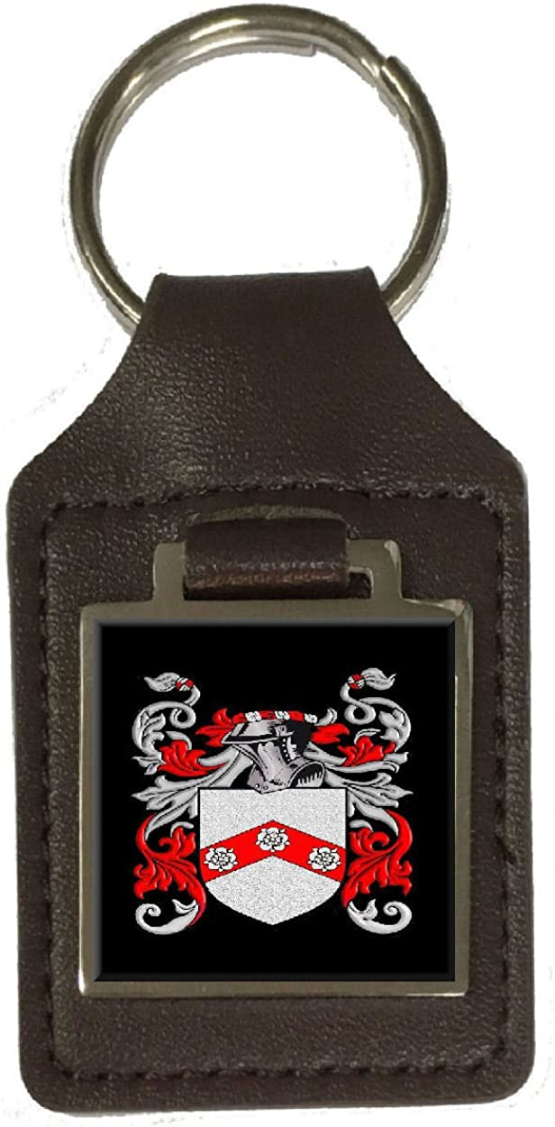 Gilbert Family Crest Surname Coat Of Arms Brown Leather Keyring Engraved
