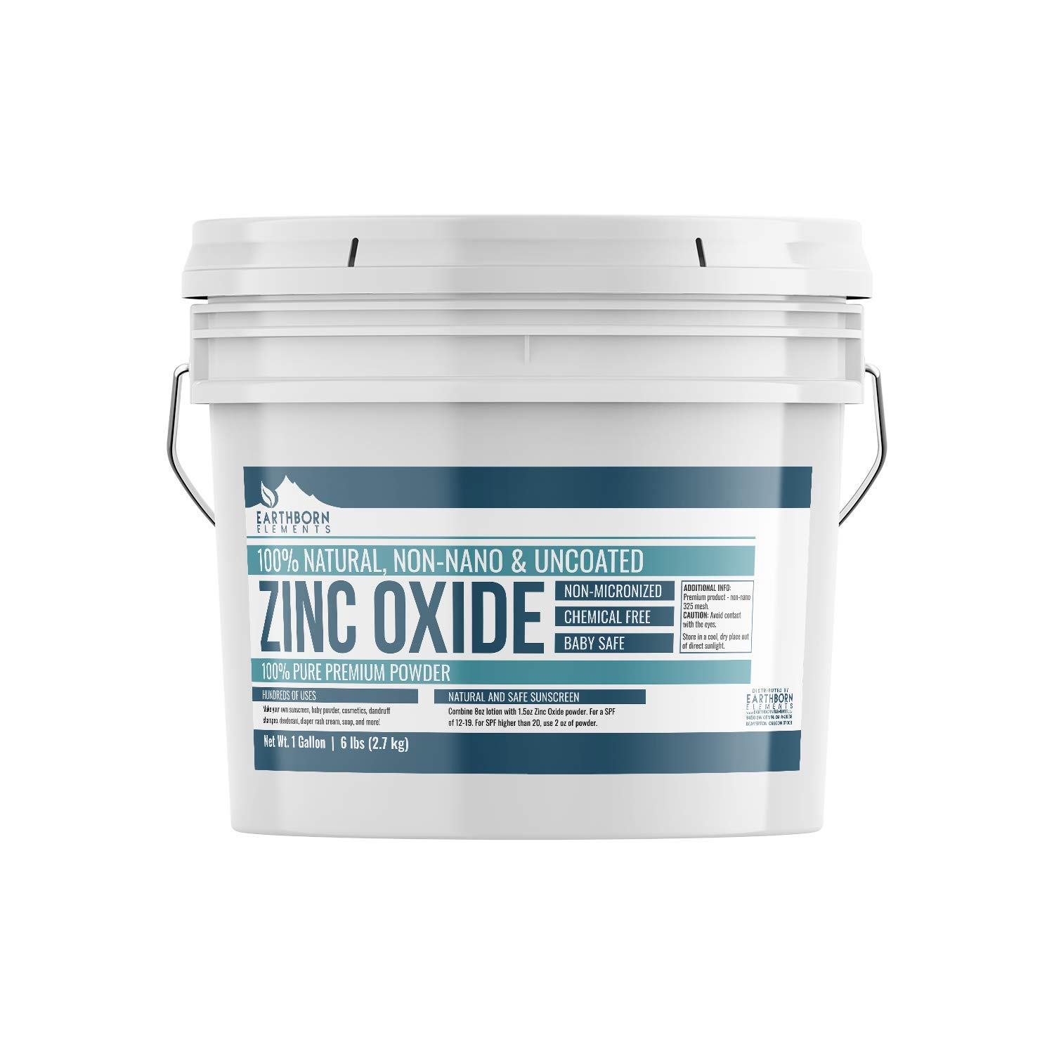Zinc Oxide (1 gallon (6 lbs.)) by Earthborn Elements, Resealable Buckets, Non-Nano, Un-coated, Food & USP Pharmaceutical Grade, Powder For Sunscreen, Diaper Rash Ointment, Burn Relief, & More by Earthborn Elements