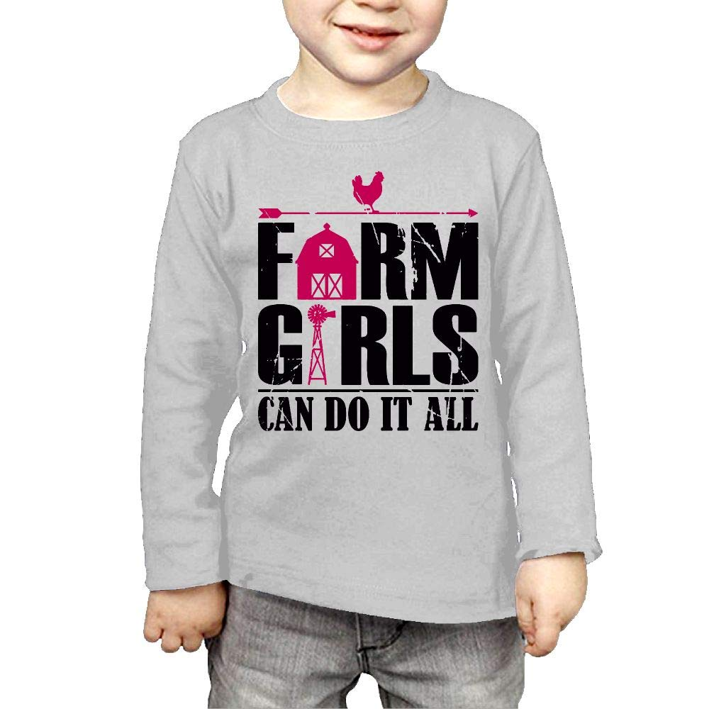 Baby Boys Childrens Farm Girls Can Do It All Printed Long Sleeve 100/% Cotton Infants Tee Shirt