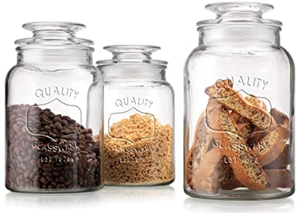 Set of 3 Clear Glass Canister Jars with Tight Lids for Kitchen or Bathroom  ~ Food Storage Containers