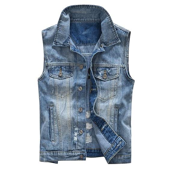 Jeans Weste Luckycat Herren Jeans Fashion Casual Denim 6yIbvg7Yf