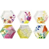 Talking Tables Fluorescent Floral Hexagonal Floral Vibrant Paper Plates for a Birthday, Multicolor (12 Pack)