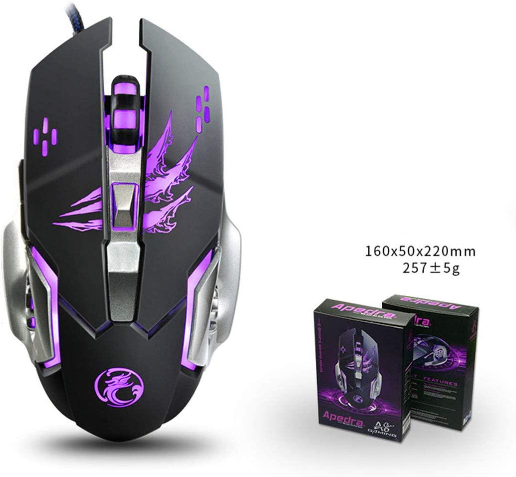 Color : Elegant Black+Exclusive Color Box Hexiaoyi New Gaming Mouse Wired with Four-Color Breathing Backlight 3200 DPI 6 Buttons Ergonomic Gaming Mouse for PC
