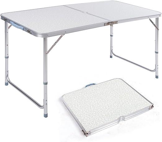 Mesa de camping plegable DXP, portátil, altura ajustable, mesa de picnic con asas, aleación de aluminio 120 x 60 x (55 -70) cm
