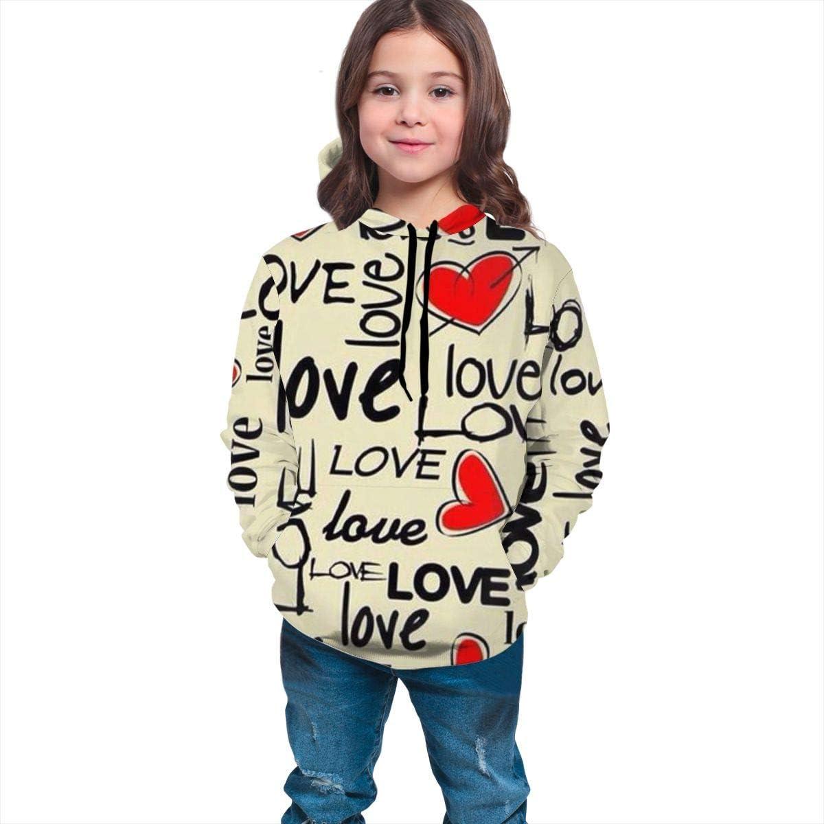 Love with Heart Unisex Pullover Teens Hoodie Hooded Sweatshirt Colorful
