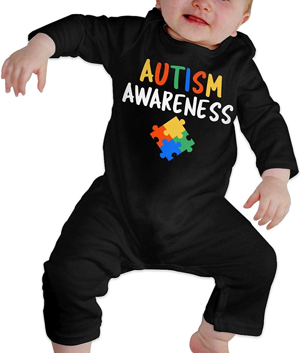 Baby Girls Romper Jumpsuit Autism Awareness Colorful Organic One-Piece Kid Pajamas Clothes