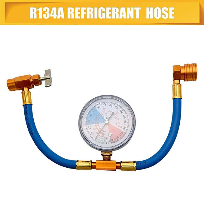 """14/"""" R134A Car Air Conditioning Refrigerant Recharge Measuring Kit Hose Gas Gauge"""