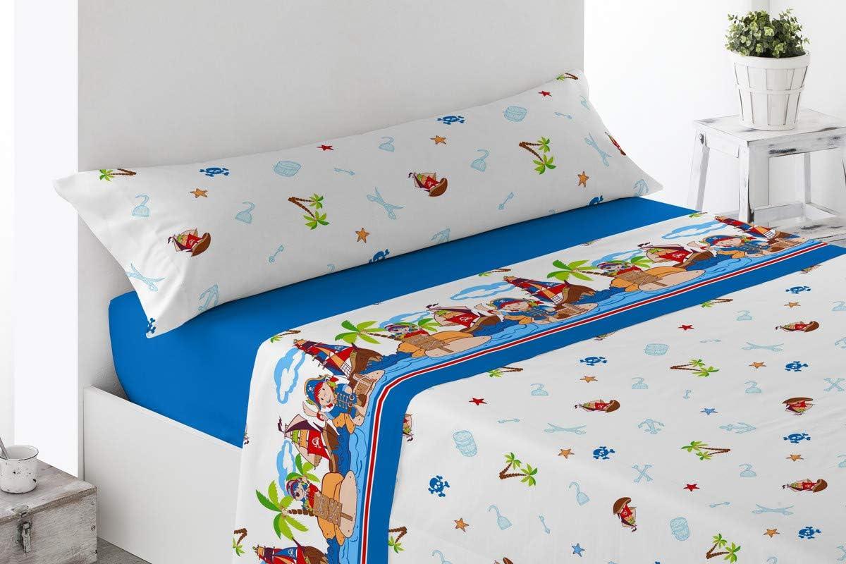 BENEDETTAHOME Juego de sábanas Estampadas Microfibra, 100% poliéster, con Tacto satén Super Suave y Agradable. Modelo Piratas, Azul. Juego de 3 Piezas para Cama de 105.: Amazon.es: Hogar