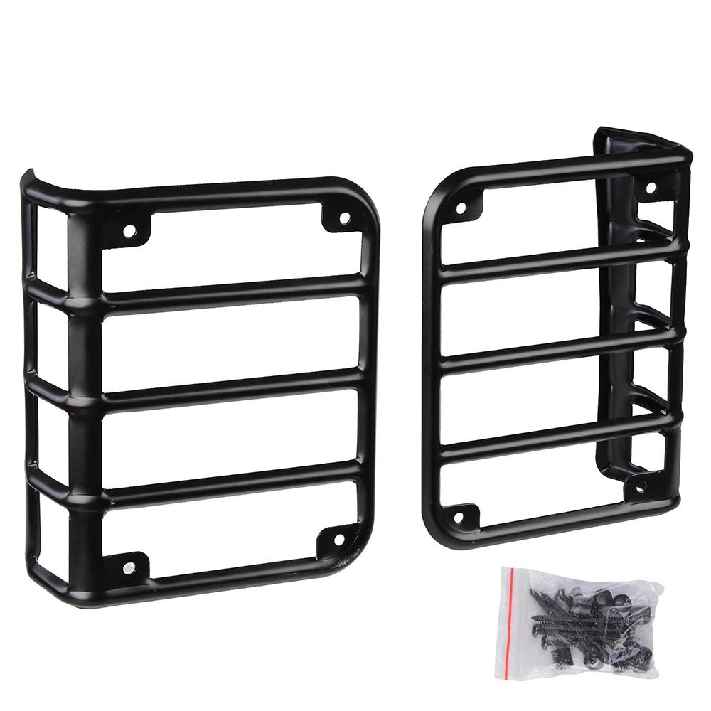 Yescom Black 1 Pair of Rear Euro Tail Light Guards for 2007-2016 Jeep Wrangler JK Car Vehicle Parts Accessory