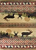 Wildlife Collection Rustic Lodge Antler Deer Forest Area Rug - 5'3 W X 7'7 L