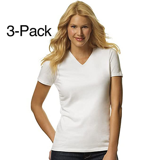 5d1e97d22 Hanes Women's 3-Pack ComfortSoft V-Neck Tees at Amazon Women's Clothing  store: