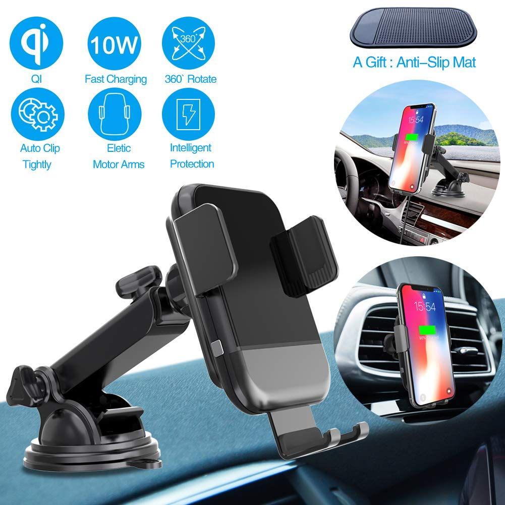 ARCBLD Car Mount Wireless Charger Dash Phone Mount Automatic Clamping Qi Fast Charger for iPhone Xs max/XR/X/8/8+ Galaxy S9/S9+/S8/S8+